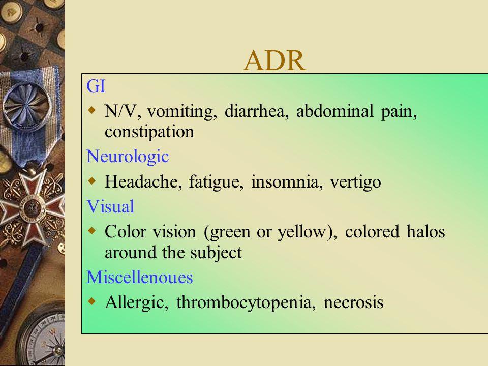 ADR GI N/V, vomiting, diarrhea, abdominal pain, constipation