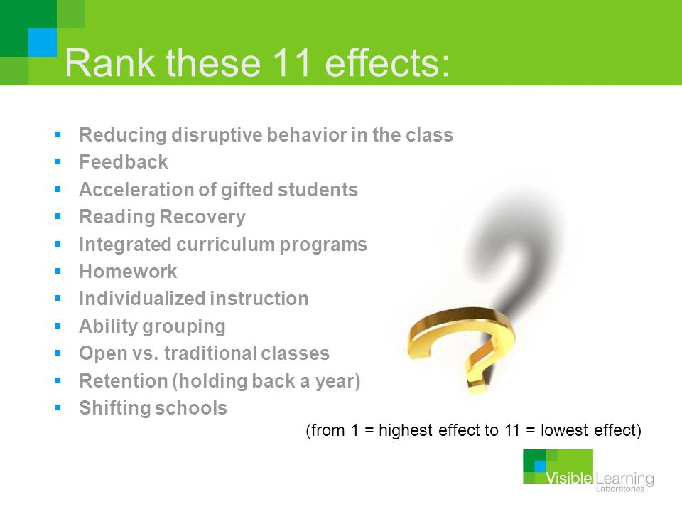 Rank these 11 effects: Reducing disruptive behavior in the class