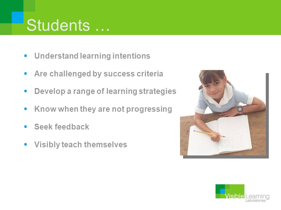 Students … Understand learning intentions
