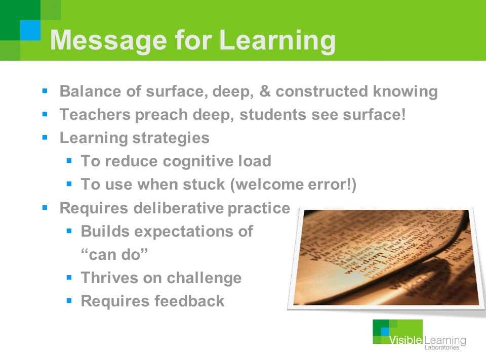 Message for Learning Balance of surface, deep, & constructed knowing