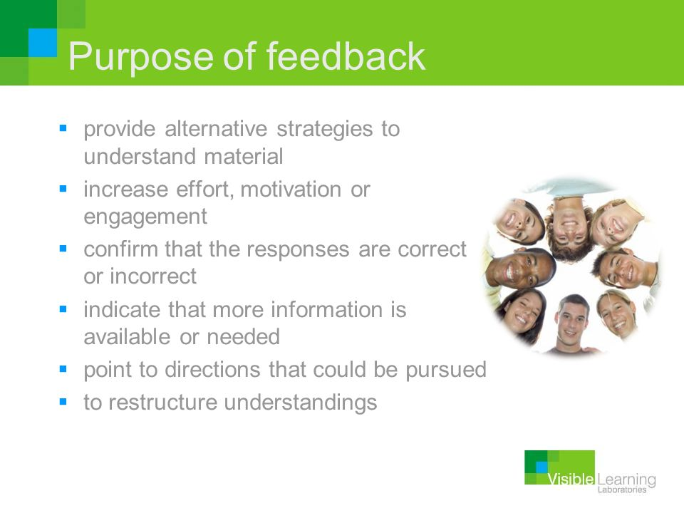 Purpose of feedback provide alternative strategies to understand material. increase effort, motivation or engagement.