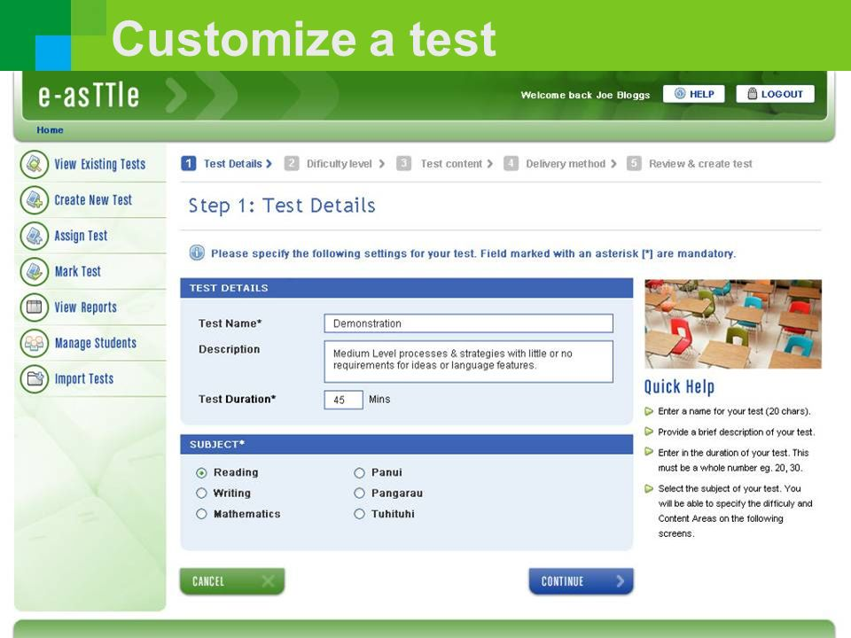Customize a test 57