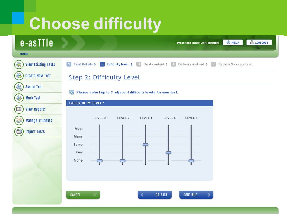 Choose difficulty