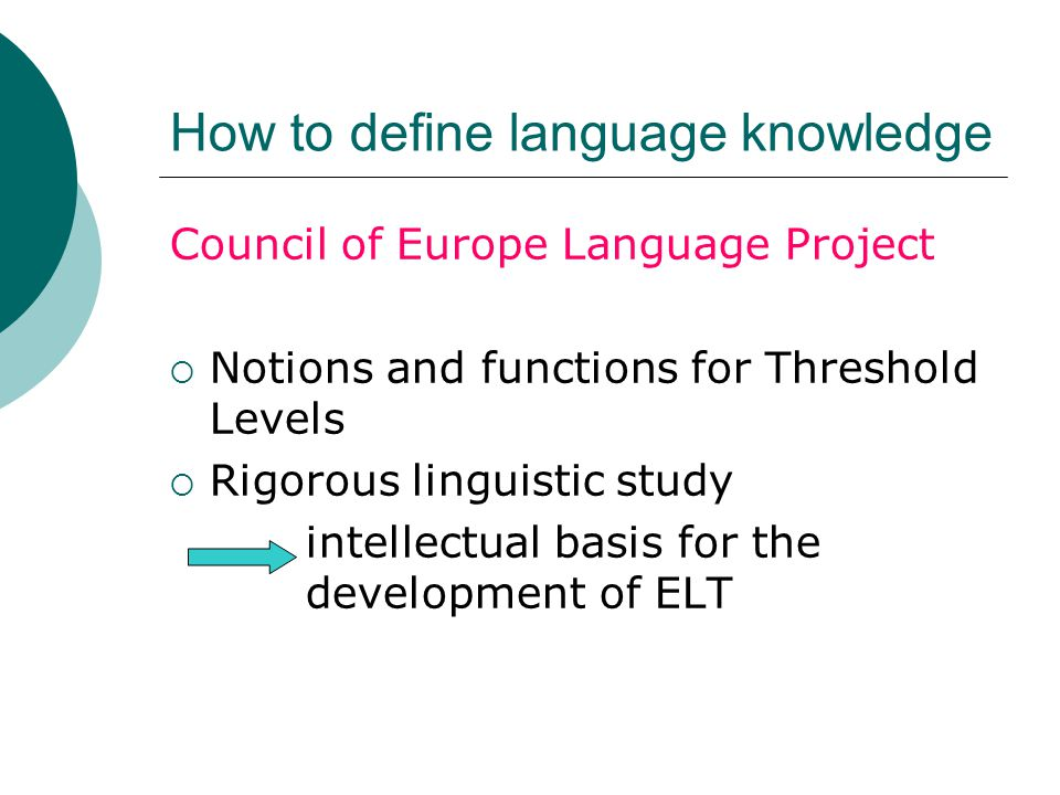 How to define language knowledge