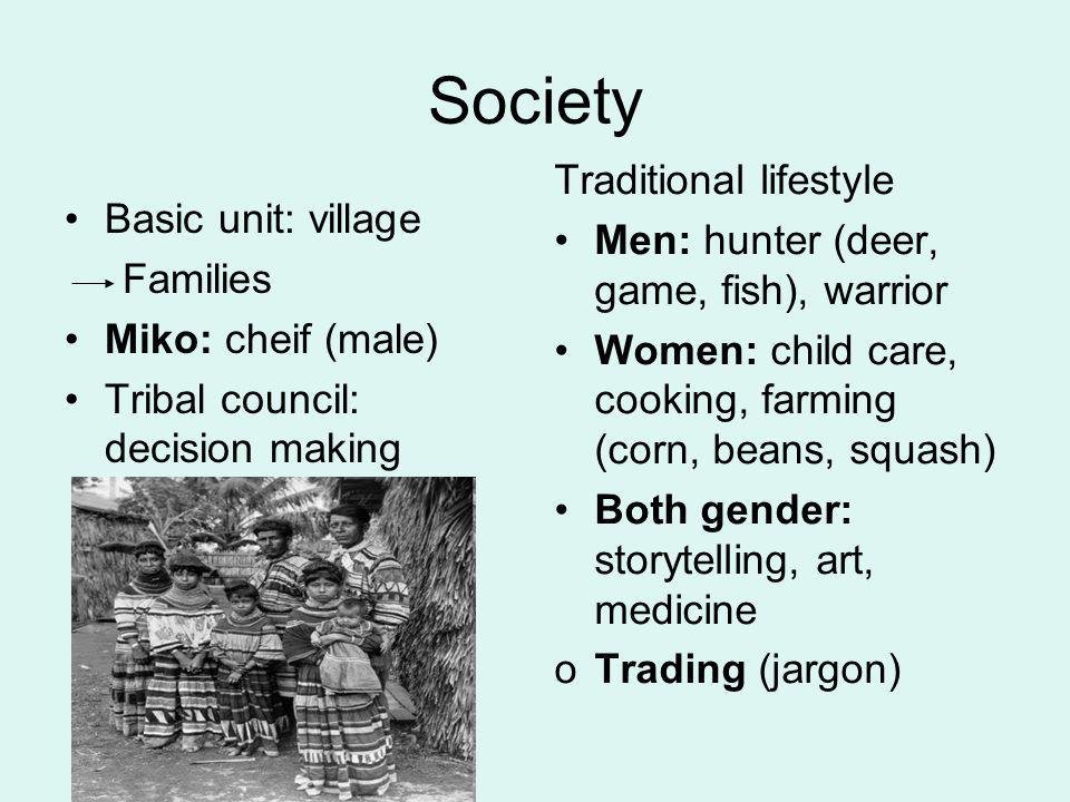 Society Traditional lifestyle Men: hunter (deer, game, fish), warrior