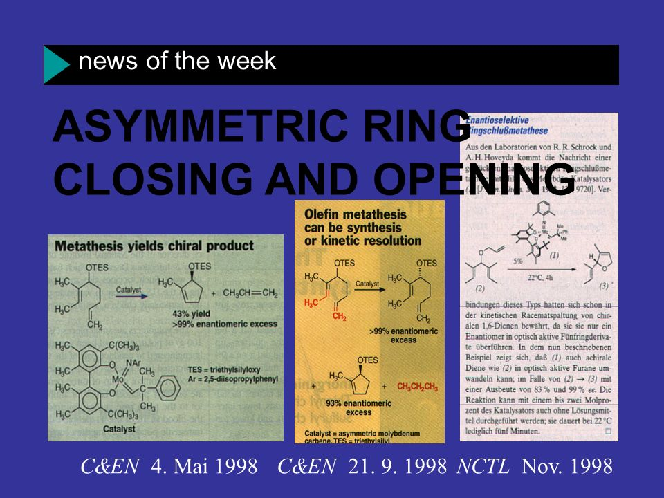 ASYMMETRIC RING CLOSING AND OPENING news of the week C&EN 4. Mai 1998