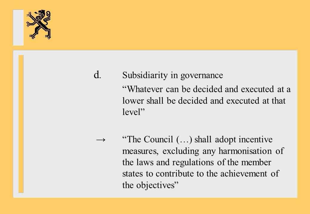 d. Subsidiarity in governance