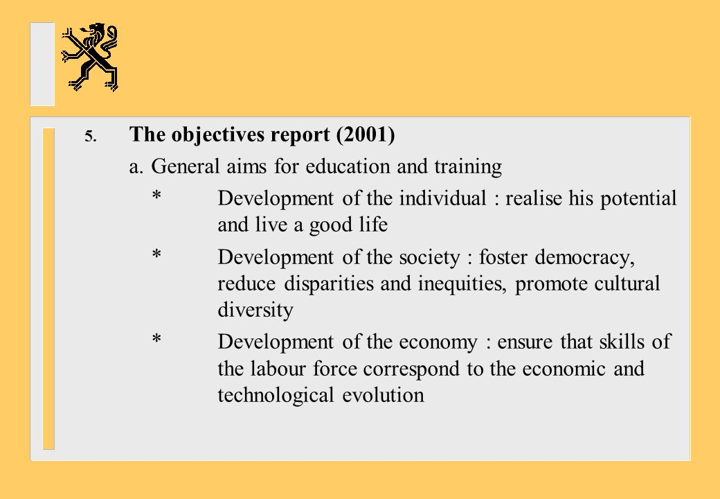 The objectives report (2001)