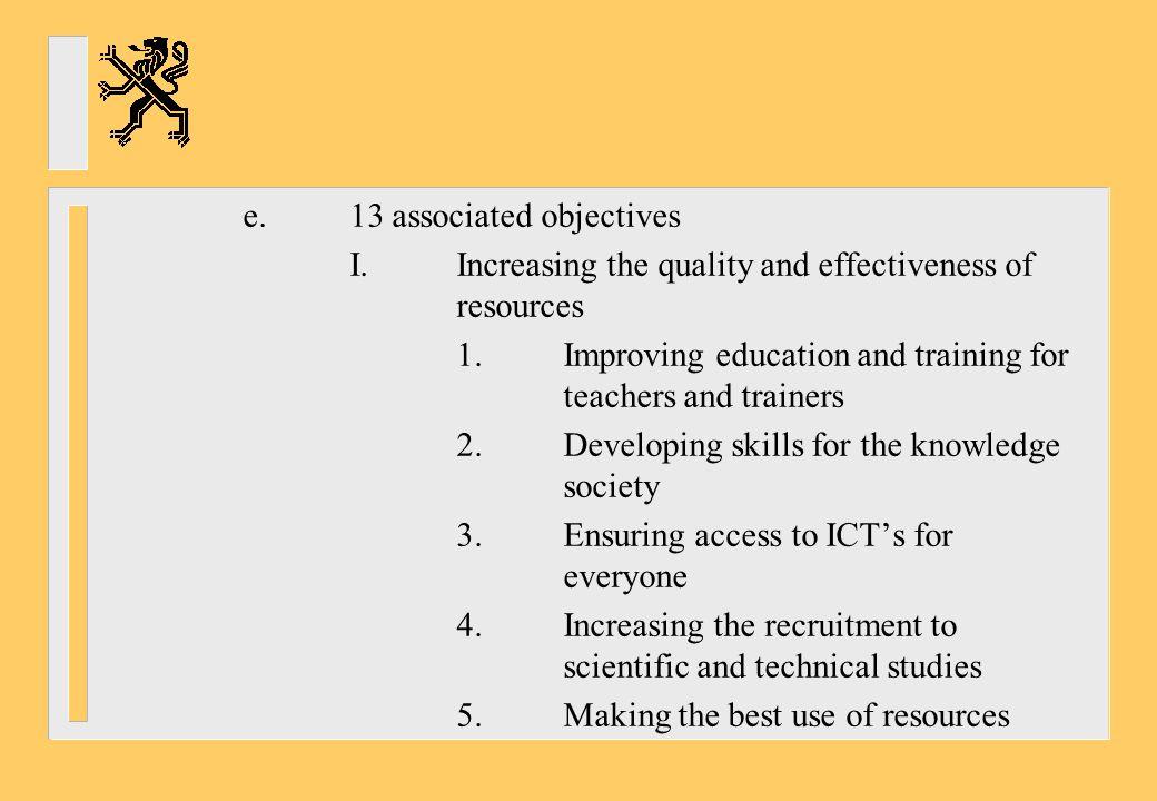 e. 13 associated objectives