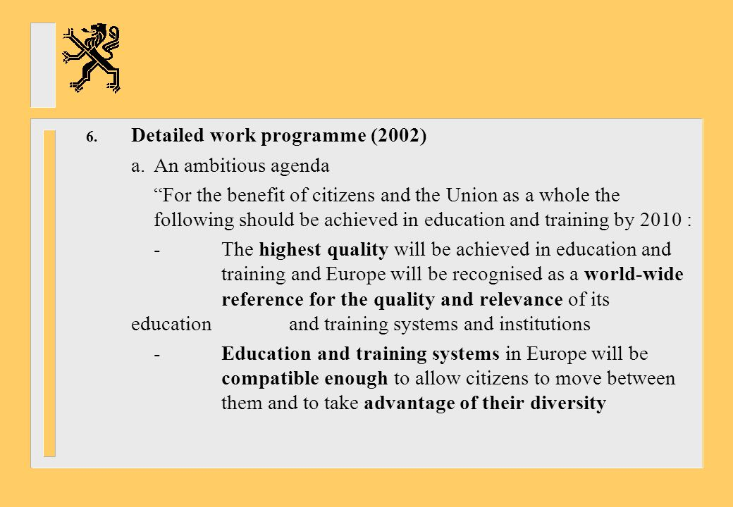 Detailed work programme (2002)
