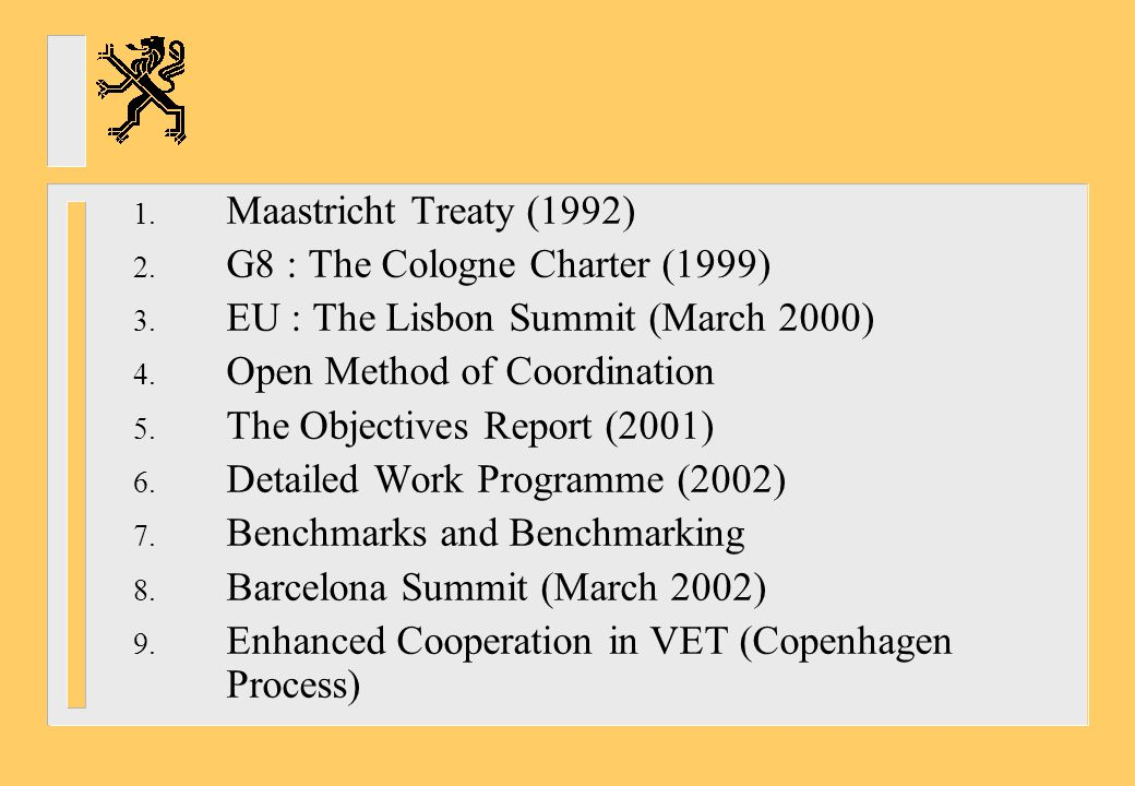 Maastricht Treaty (1992) G8 : The Cologne Charter (1999) EU : The Lisbon Summit (March 2000) Open Method of Coordination.