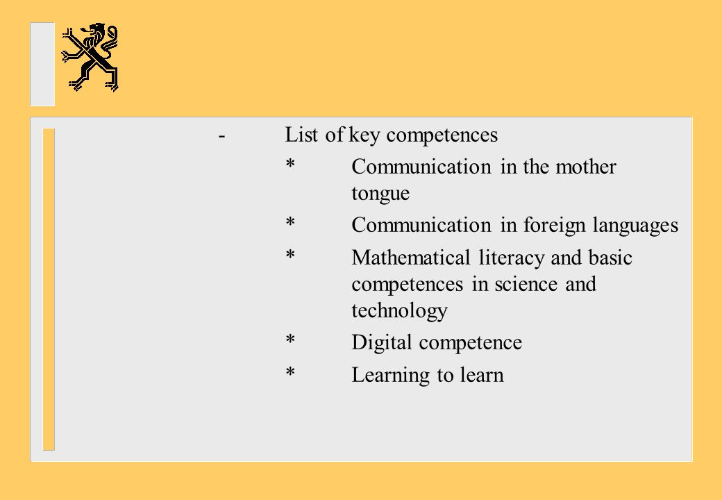 - List of key competences
