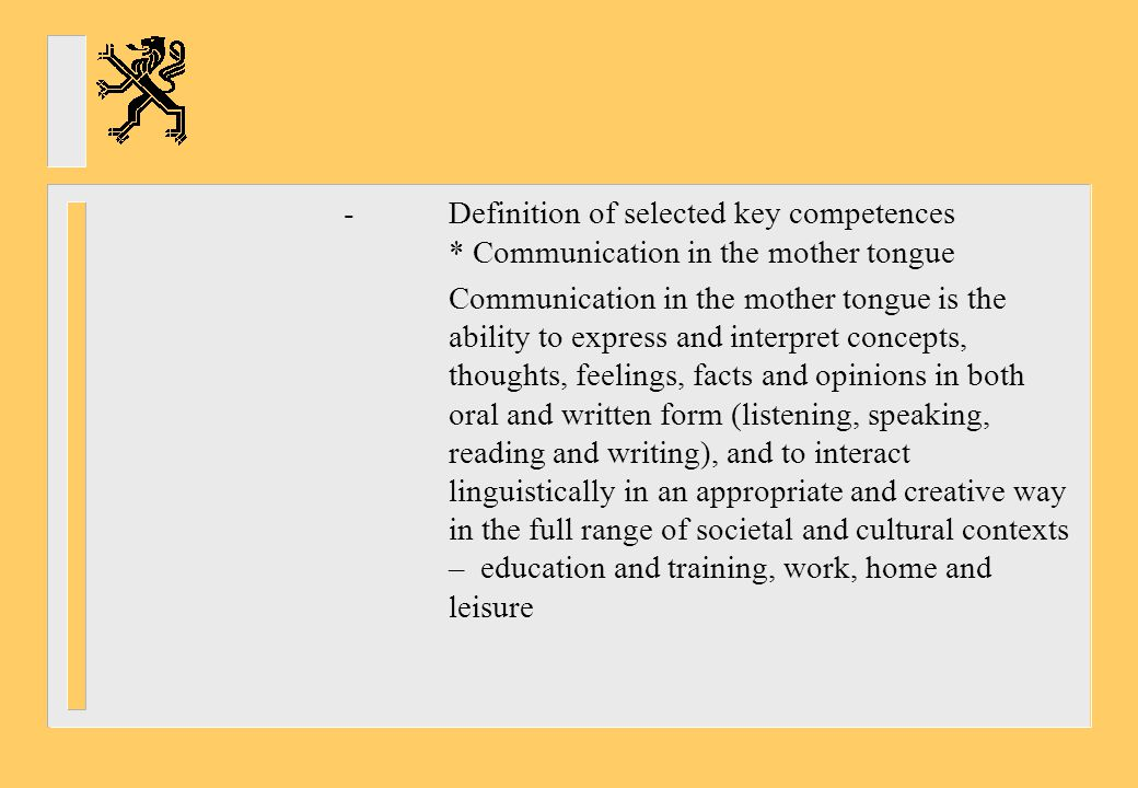 -. Definition of selected key competences