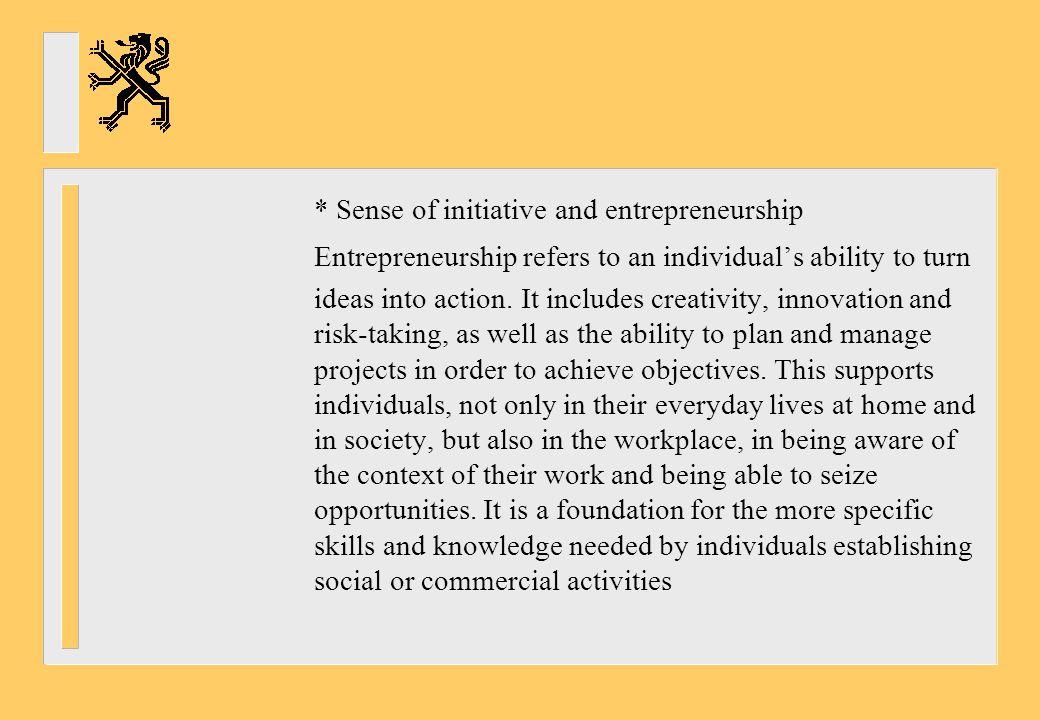 * Sense of initiative and entrepreneurship