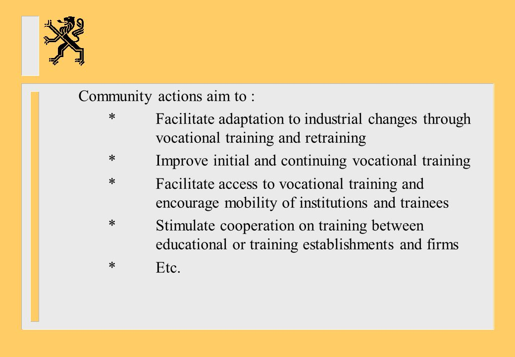 Community actions aim to :