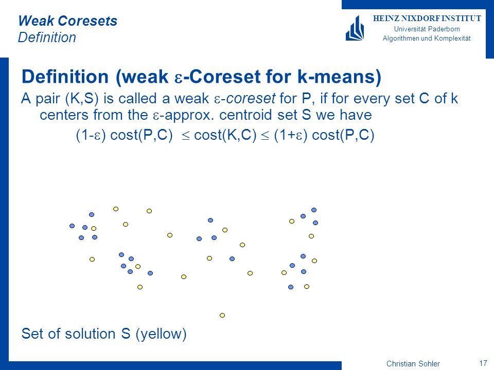 Weak Coresets Definition