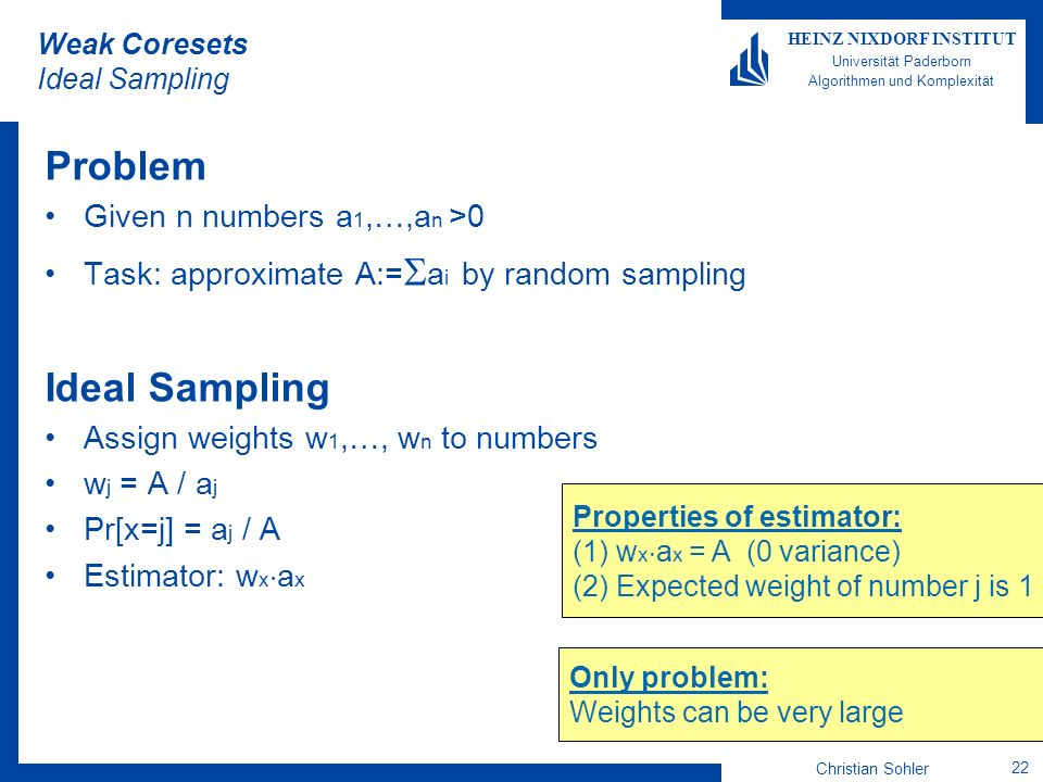 Weak Coresets Ideal Sampling