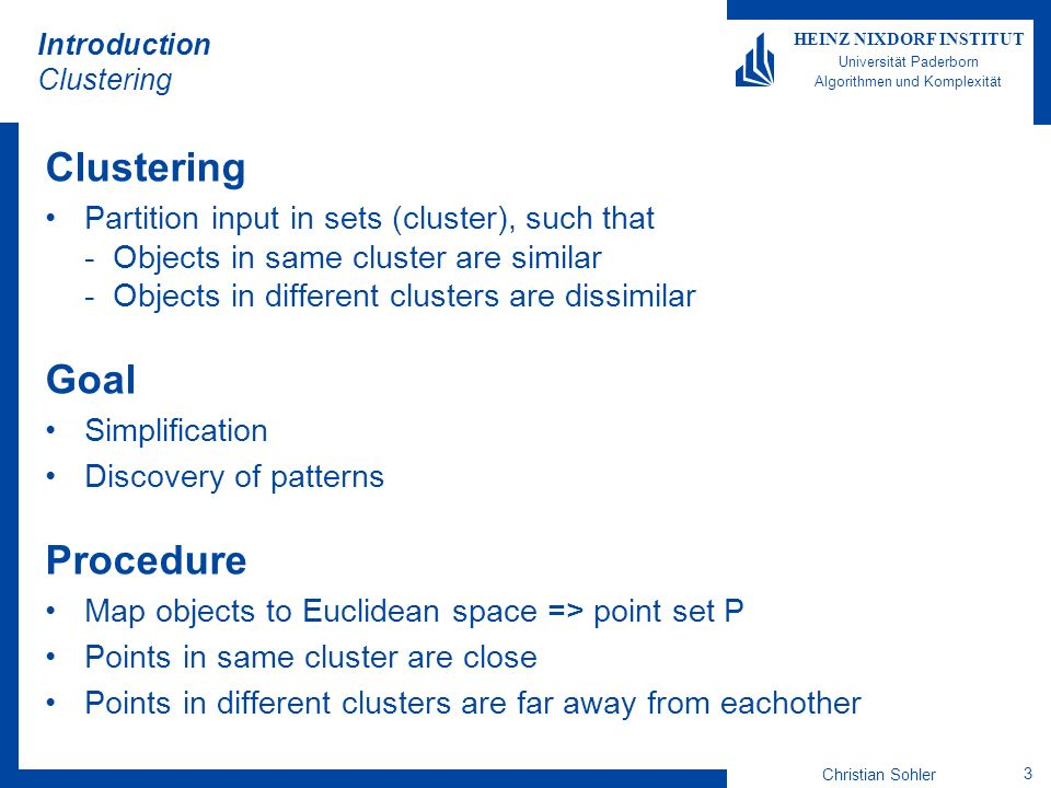 Introduction Clustering