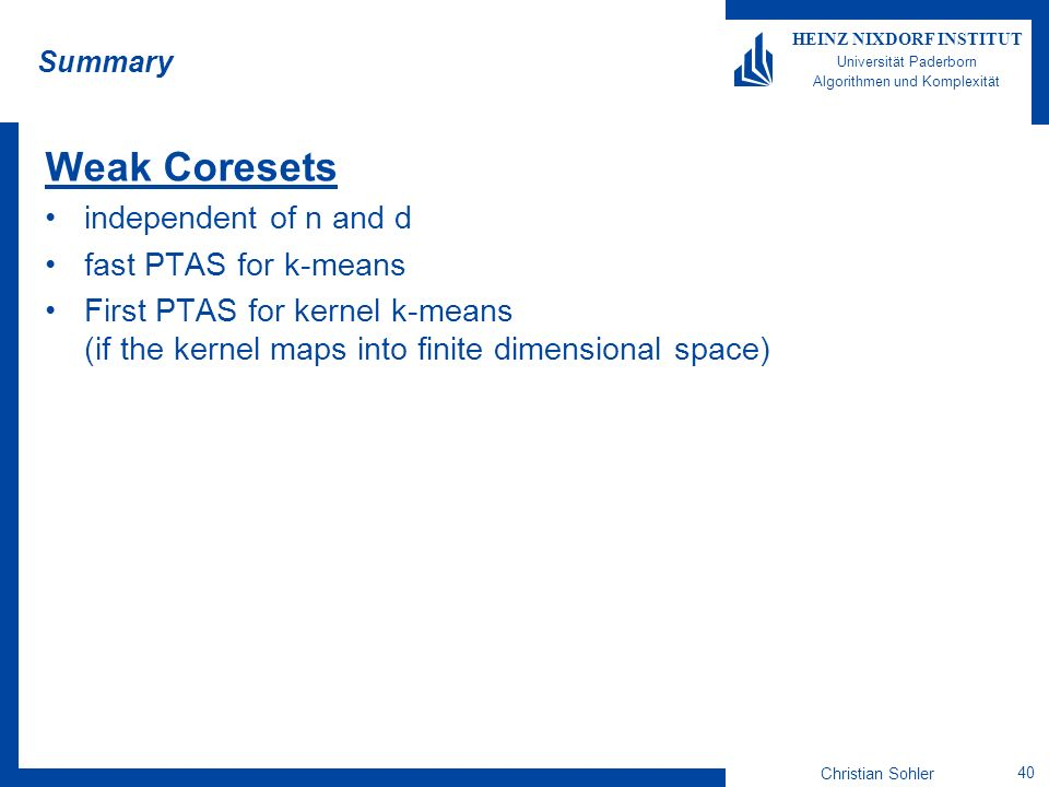 Weak Coresets independent of n and d fast PTAS for k-means