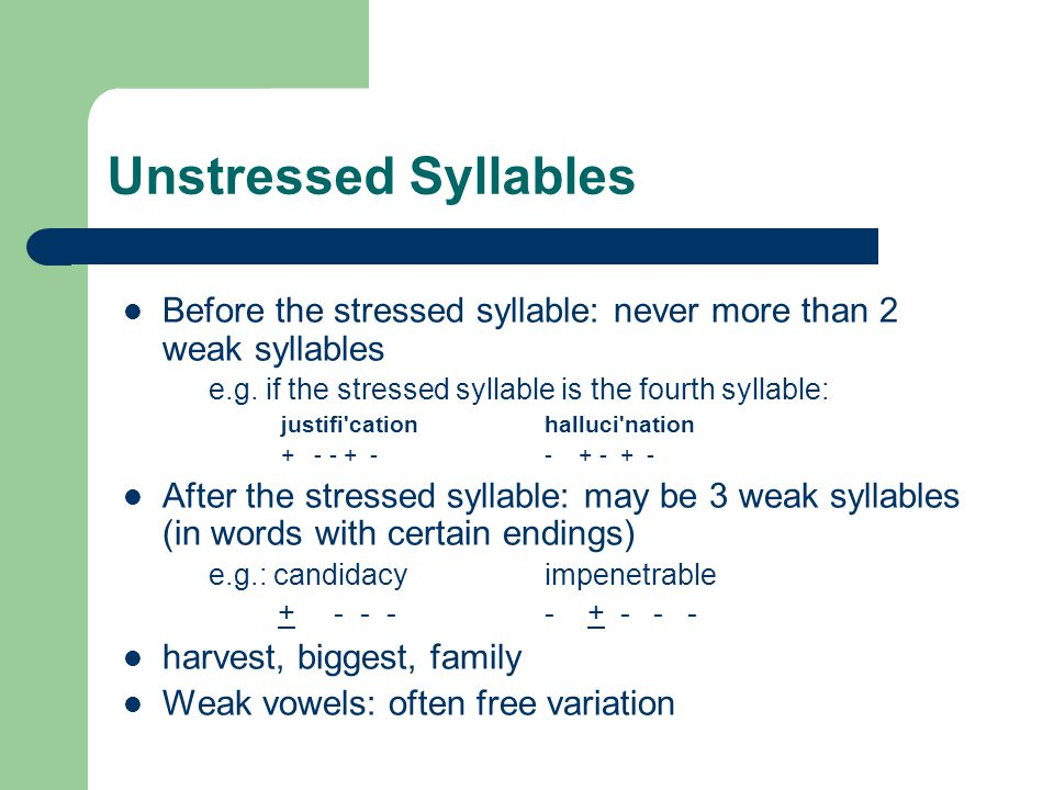 Unstressed Syllables Before the stressed syllable: never more than 2 weak syllables. e.g. if the stressed syllable is the fourth syllable: