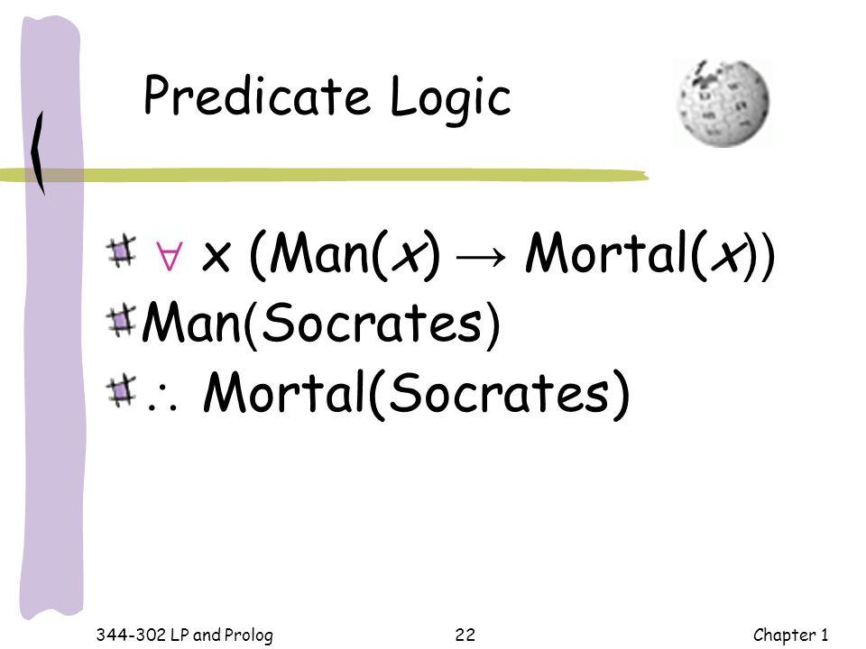  x (Man(x) → Mortal(x)) Man(Socrates)  Mortal(Socrates)