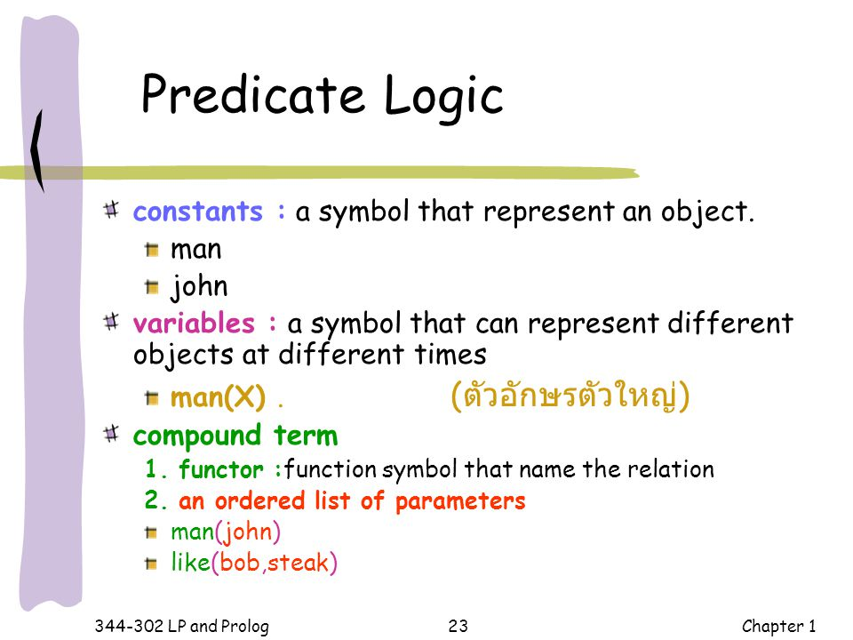 Predicate Logic constants : a symbol that represent an object. man