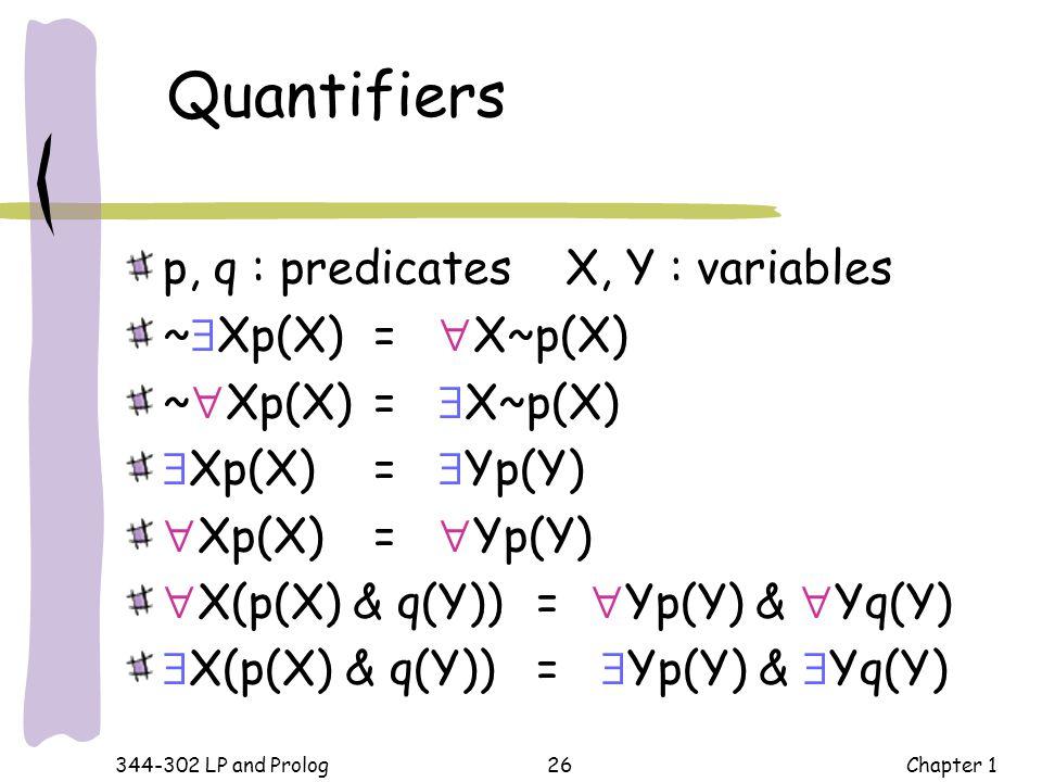 Quantifiers p, q : predicates X, Y : variables ~Xp(X) = X~p(X)