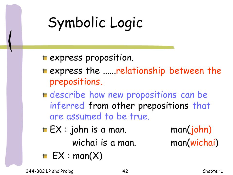 Symbolic Logic express proposition.