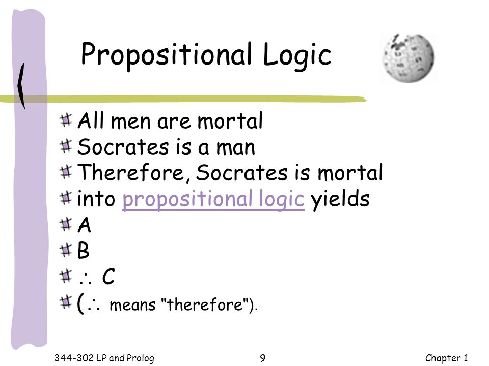 Propositional Logic All men are mortal Socrates is a man