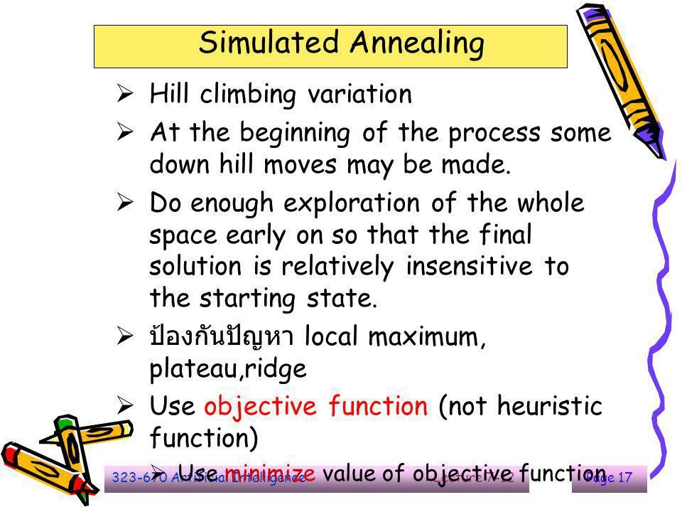 The End Simulated Annealing Hill climbing variation