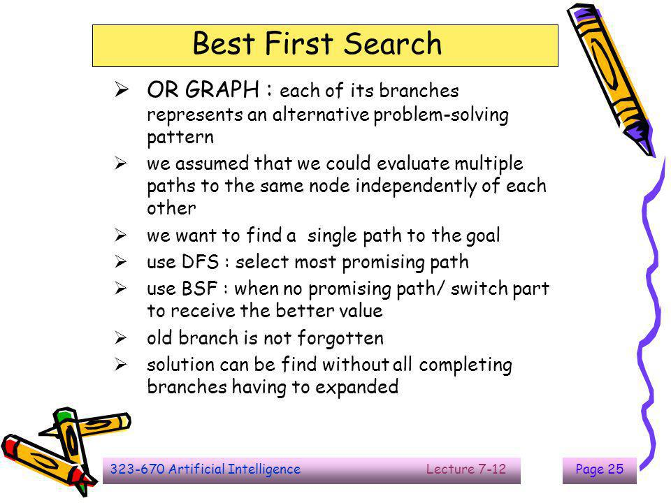 Best First Search OR GRAPH : each of its branches represents an alternative problem-solving pattern.