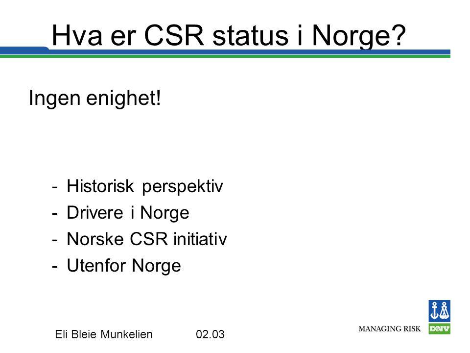Hva er CSR status i Norge
