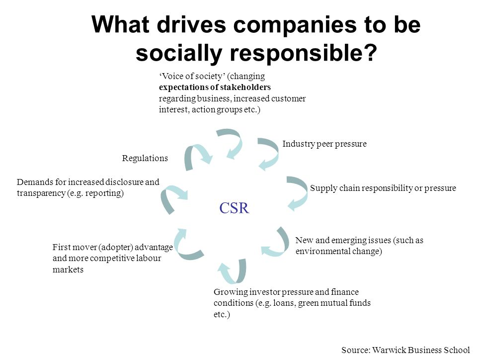 What drives companies to be socially responsible