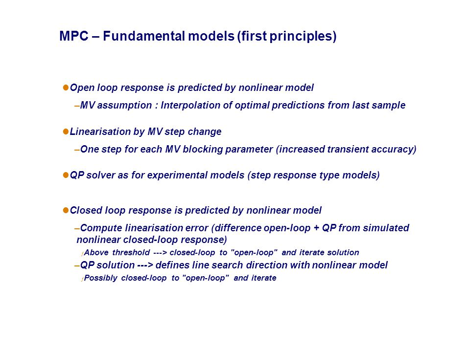 MPC – Fundamental models (first principles)