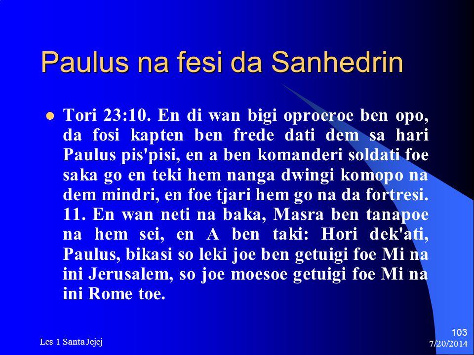 Paulus na fesi da Sanhedrin