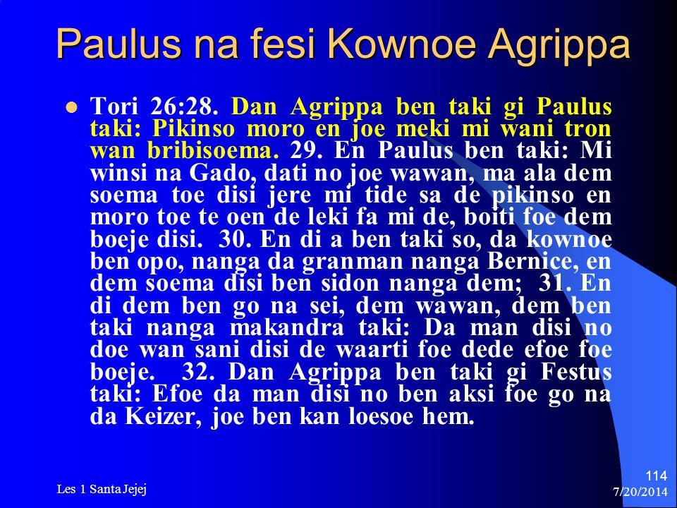 Paulus na fesi Kownoe Agrippa