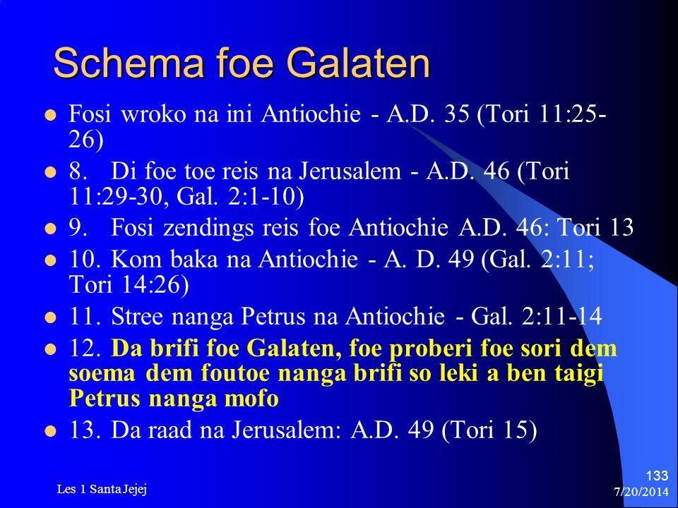 Schema foe Galaten Fosi wroko na ini Antiochie - A.D. 35 (Tori 11:25-26) 8. Di foe toe reis na Jerusalem - A.D. 46 (Tori 11:29-30, Gal. 2:1-10)