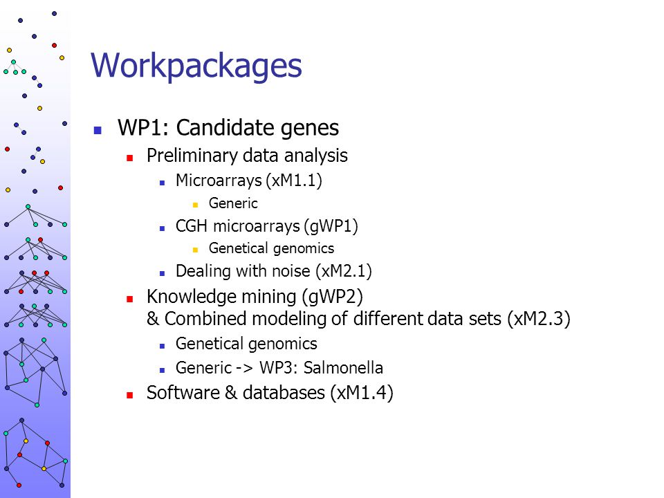 Workpackages WP1: Candidate genes Preliminary data analysis