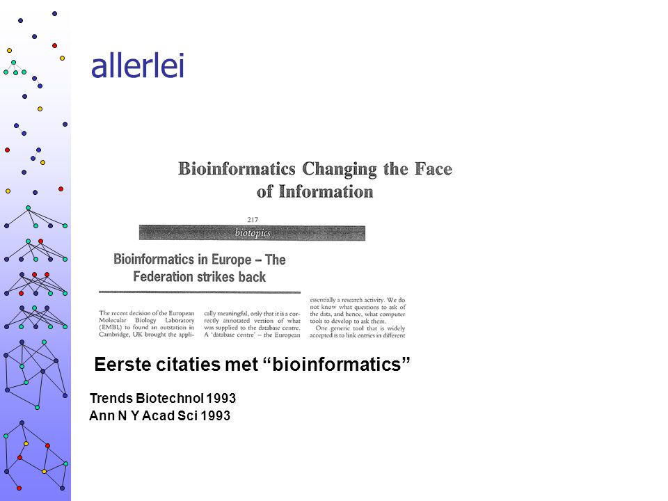 allerlei Eerste citaties met bioinformatics Trends Biotechnol 1993