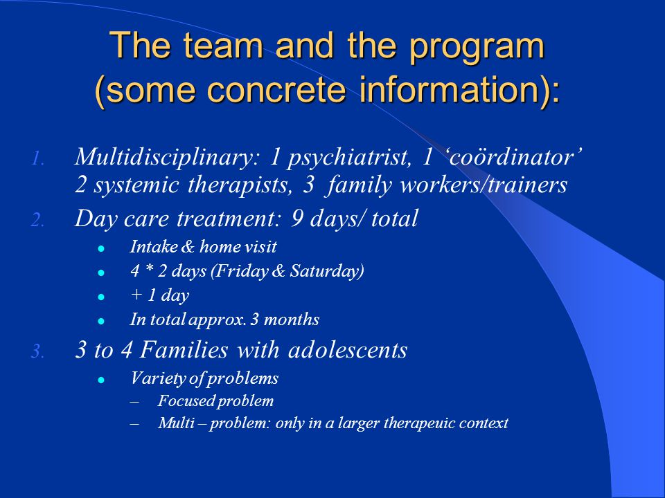 The team and the program (some concrete information):