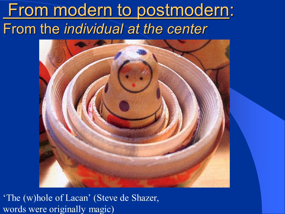 From modern to postmodern: From the individual at the center