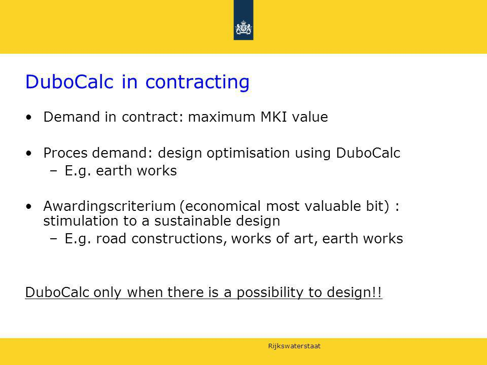 DuboCalc in contracting