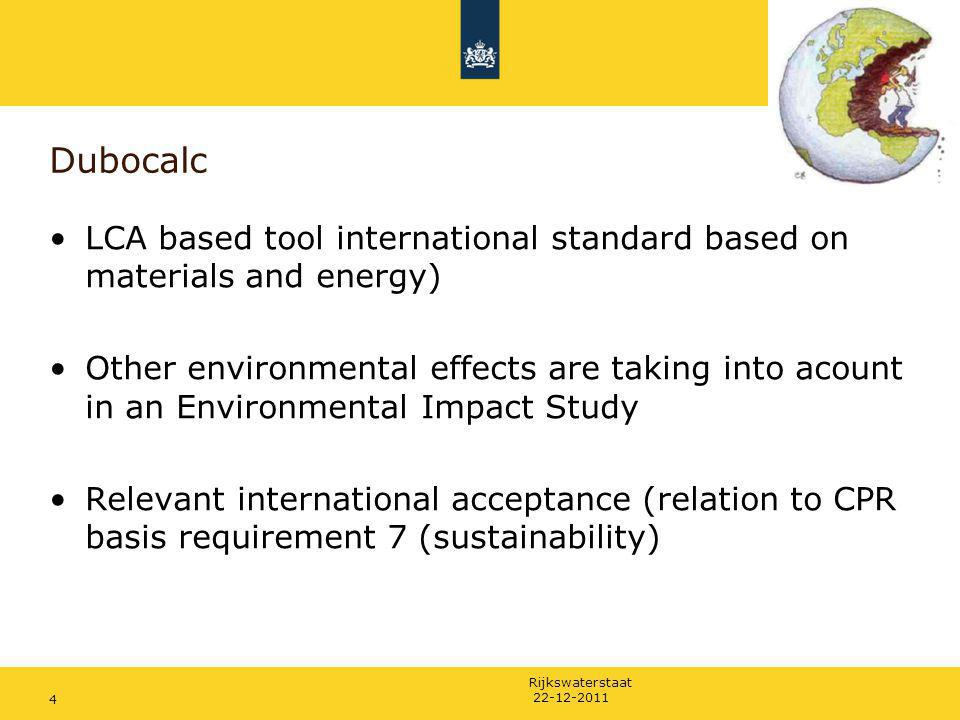 Dubocalc LCA based tool international standard based on materials and energy)