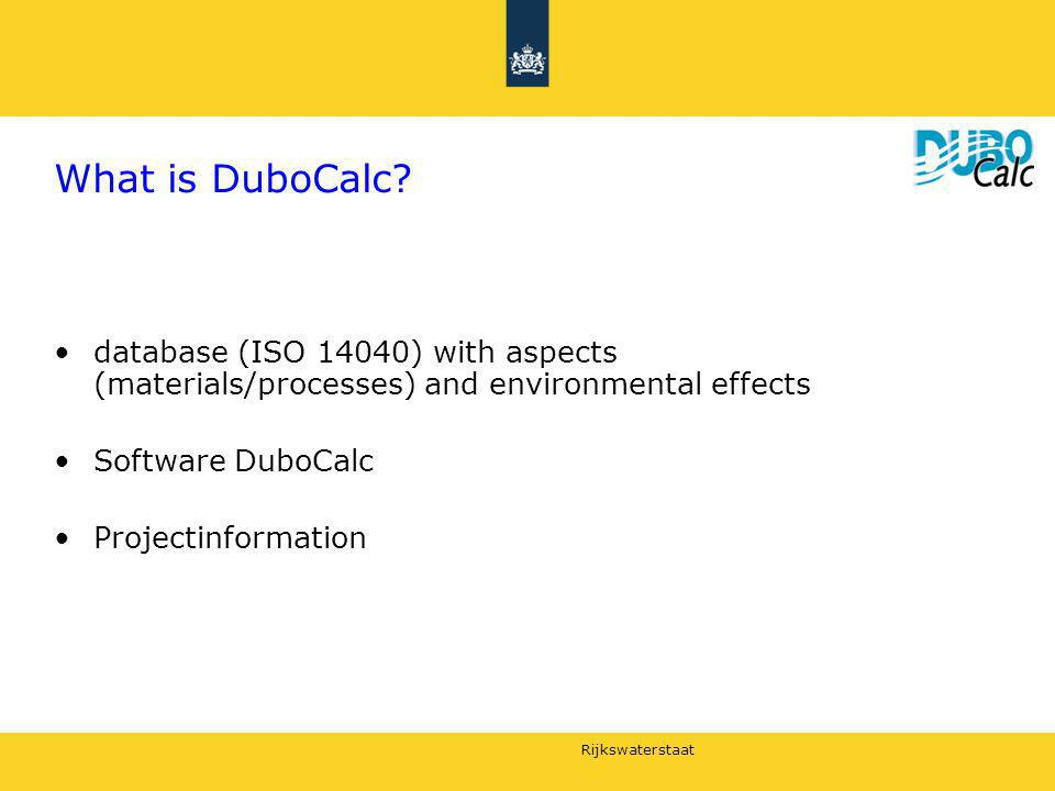 What is DuboCalc database (ISO 14040) with aspects (materials/processes) and environmental effects.