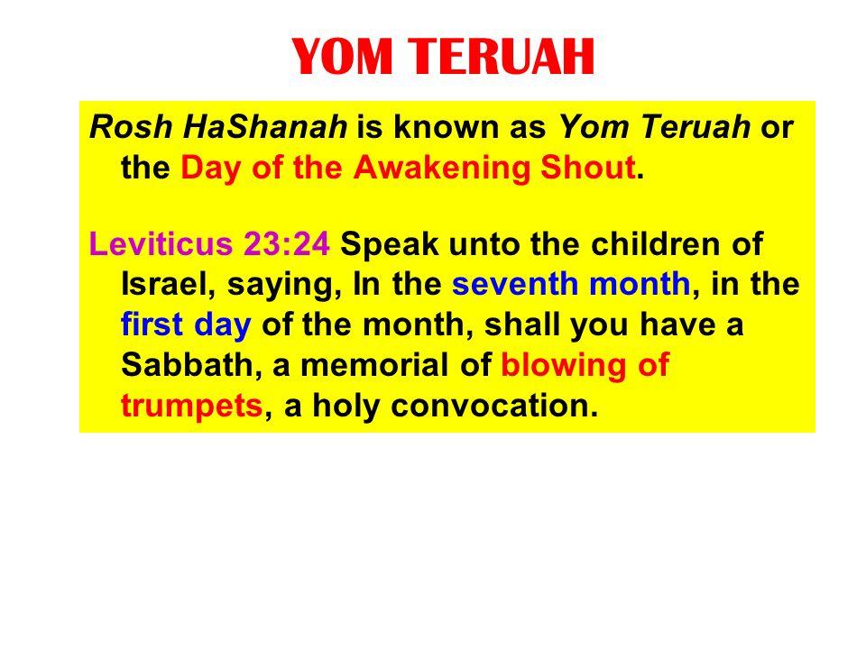 YOM TERUAH Rosh HaShanah is known as Yom Teruah or the Day of the Awakening Shout.