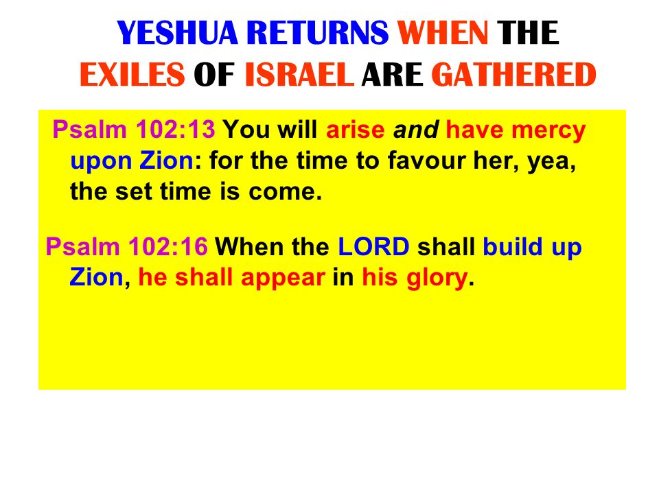 YESHUA RETURNS WHEN THE EXILES OF ISRAEL ARE GATHERED