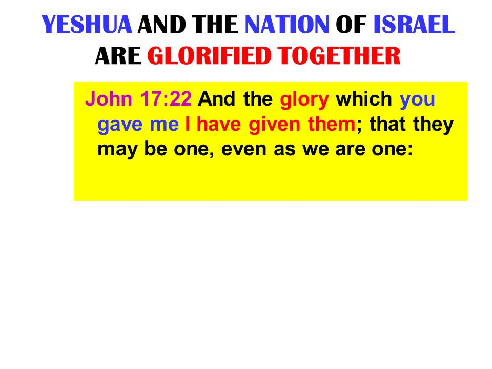 YESHUA AND THE NATION OF ISRAEL ARE GLORIFIED TOGETHER