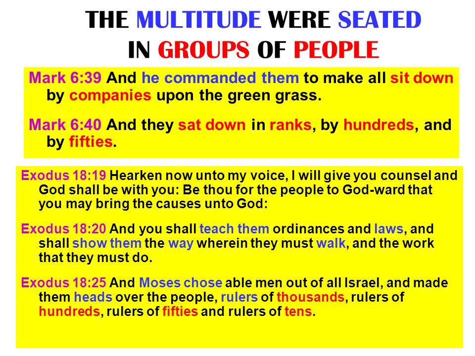 THE MULTITUDE WERE SEATED IN GROUPS OF PEOPLE
