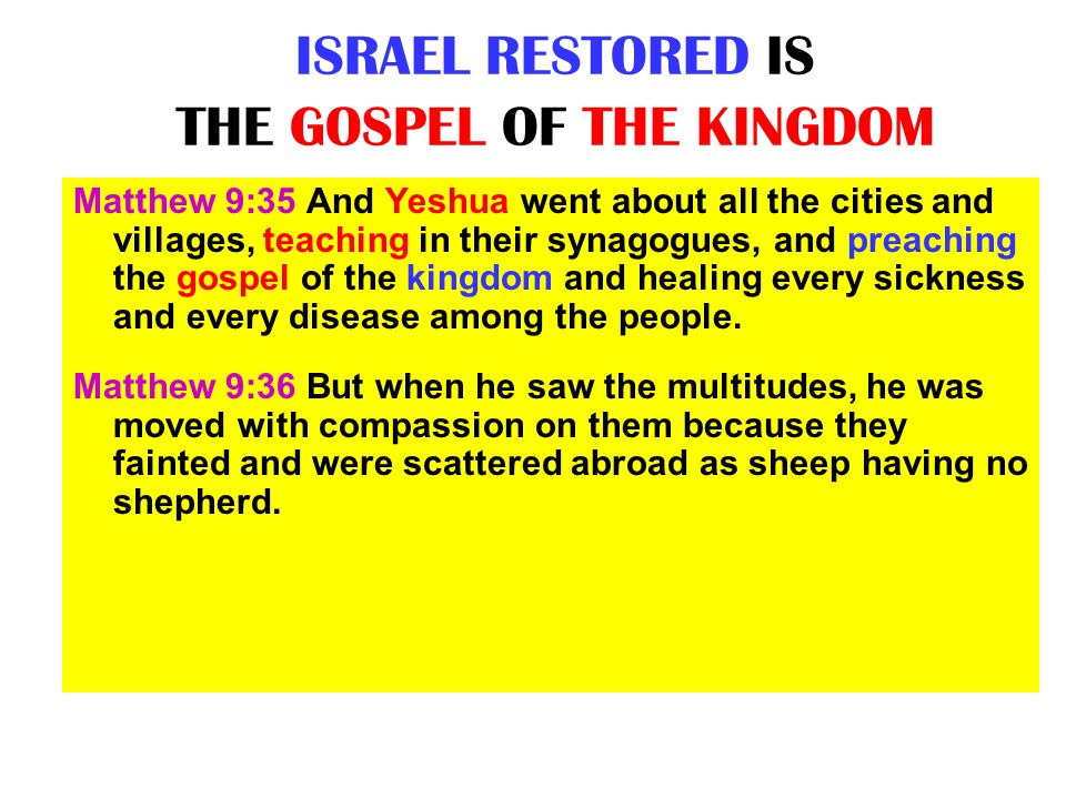 ISRAEL RESTORED IS THE GOSPEL OF THE KINGDOM