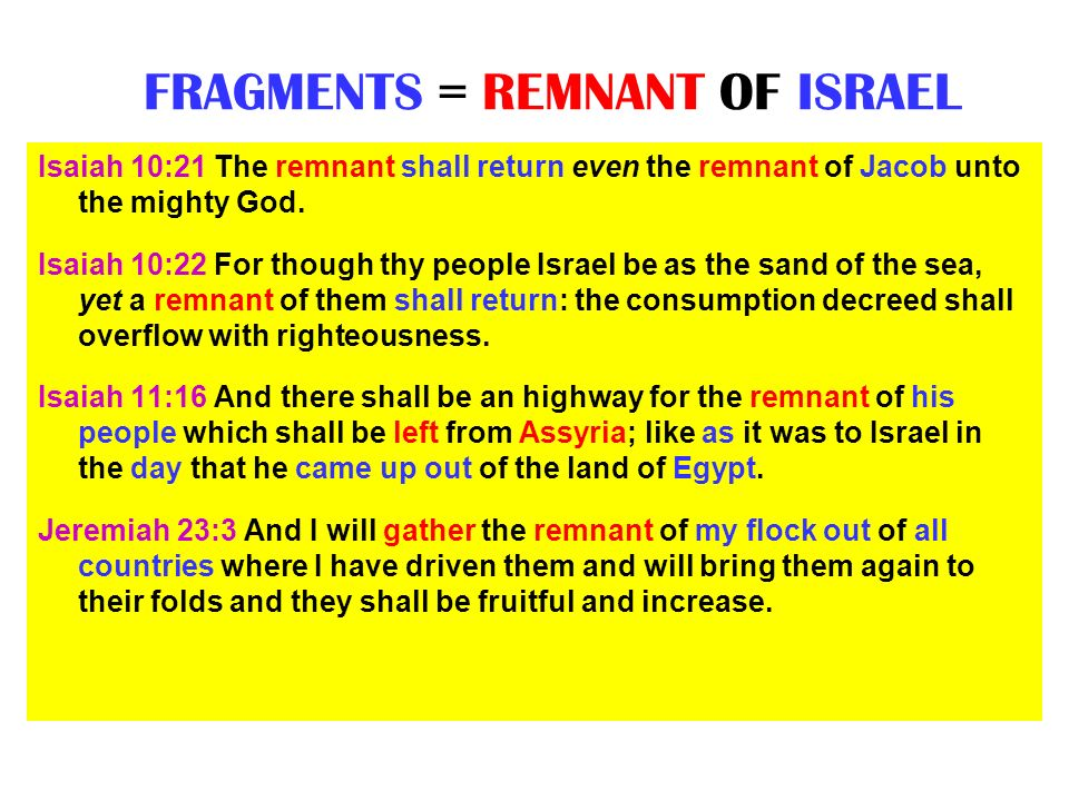 FRAGMENTS = REMNANT OF ISRAEL